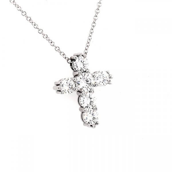 1.75Ct Moissanite Gold Cross Pendant OroSpot