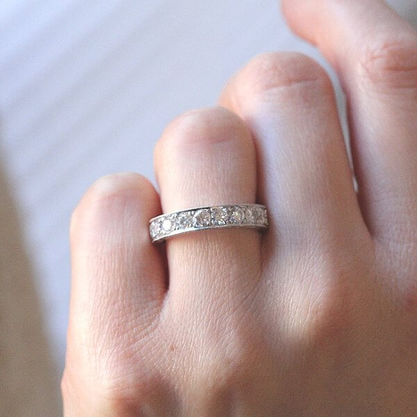 1ct etched and milgrained wedding band OroSpot