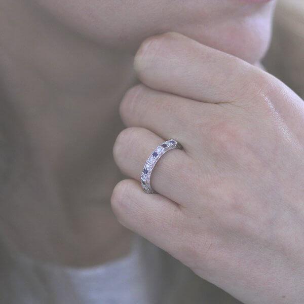 2.8mm milgrained sapphire and diamond wedding ring OroSpot