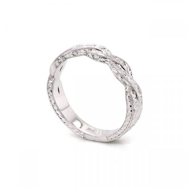3.5mm Hand Etched braided ring