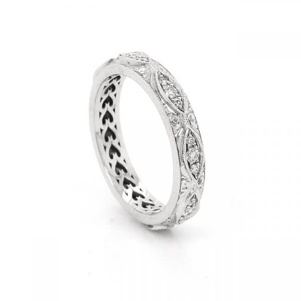 3.7mm Diamond Antique Etched eternity band OroSpot