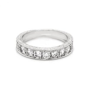 4mm wide engaved diamond wedding band