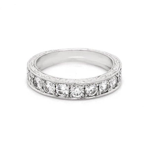 4mm wide engaved diamond wedding band