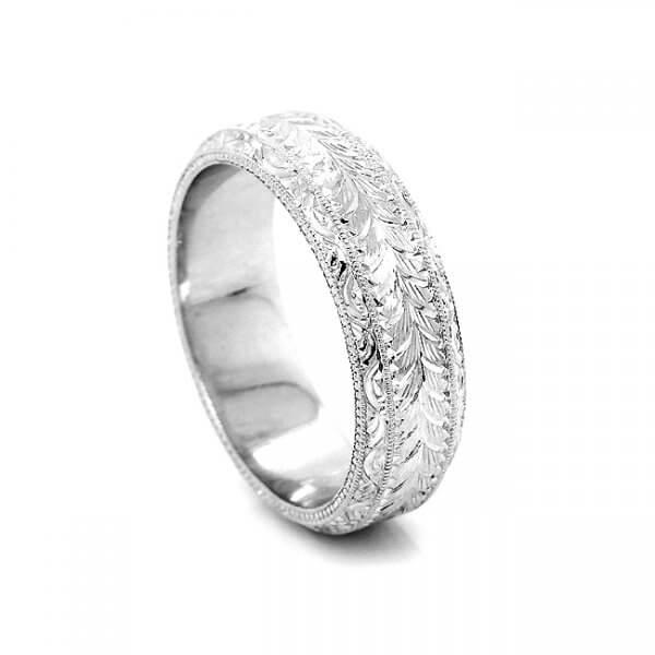6mm Men's hand engraved wedding ring
