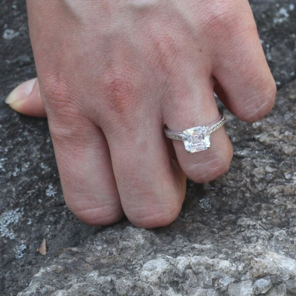 8mm Asscher Moissanite Antique Promise Ring