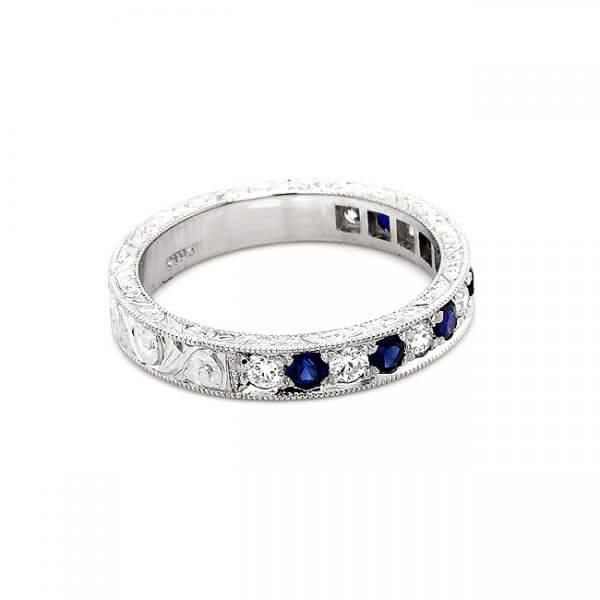 Alternating diamonds and sapphires anique wedding band 3mm OroSpot