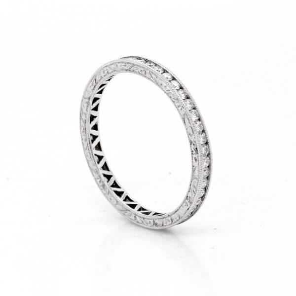 Antique Inspired Etched Diamond Channel Band OroSpot