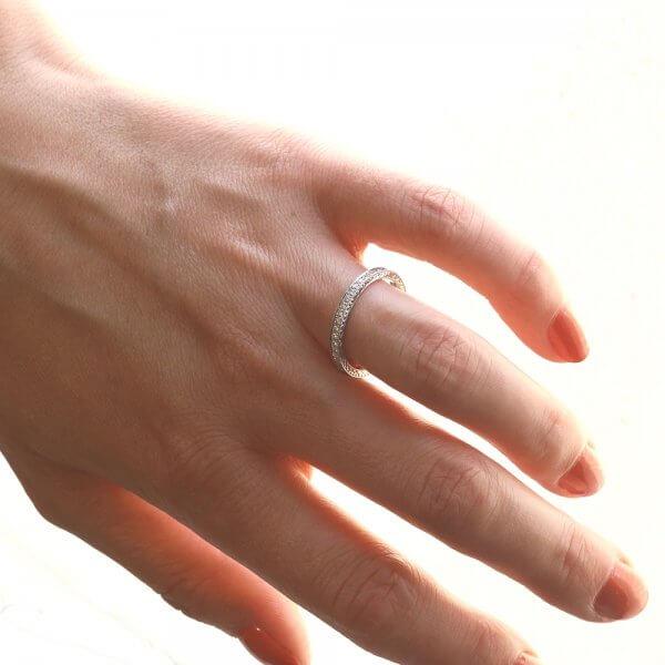 Antique bead set diamond wedding ring OroSpot