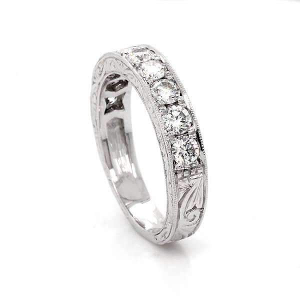 Antique carved diamond wedding ring