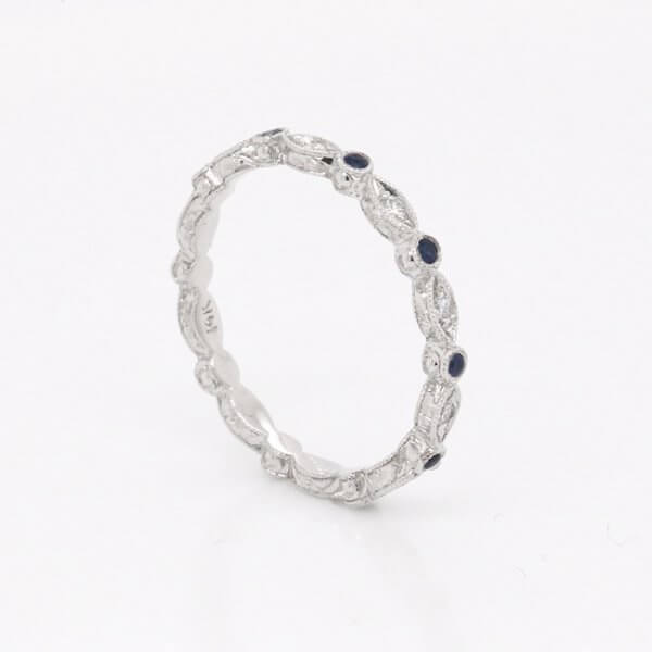 Antique diamond and sapphire stack band