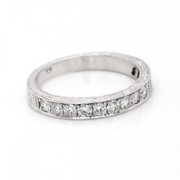 Antique pave bead set diamond band 2.8mm