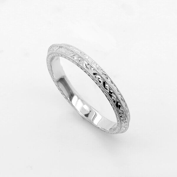Antique style hand etched band by OroSpot