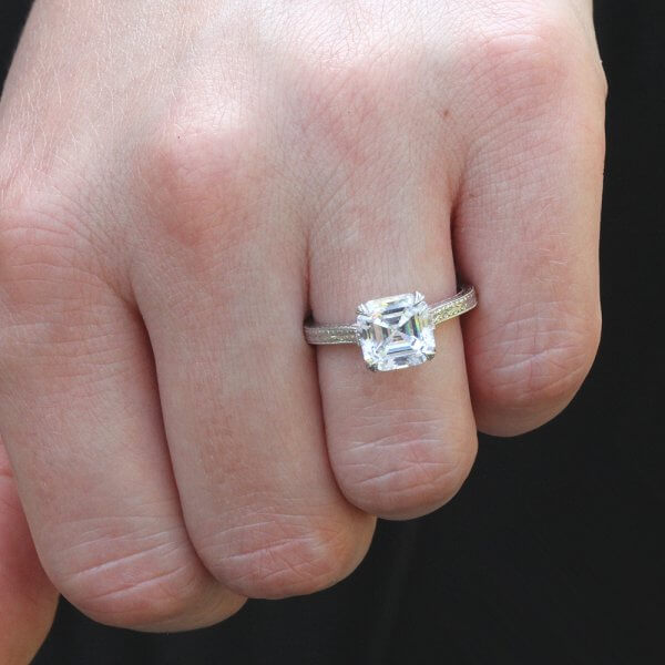 Art Deco Etched Moissanite RIng OroSpot