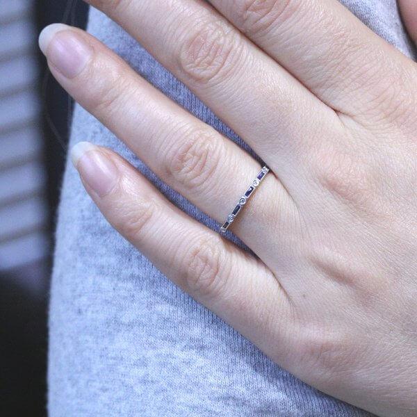 Art Deco baguettes wedding ring OroSpot