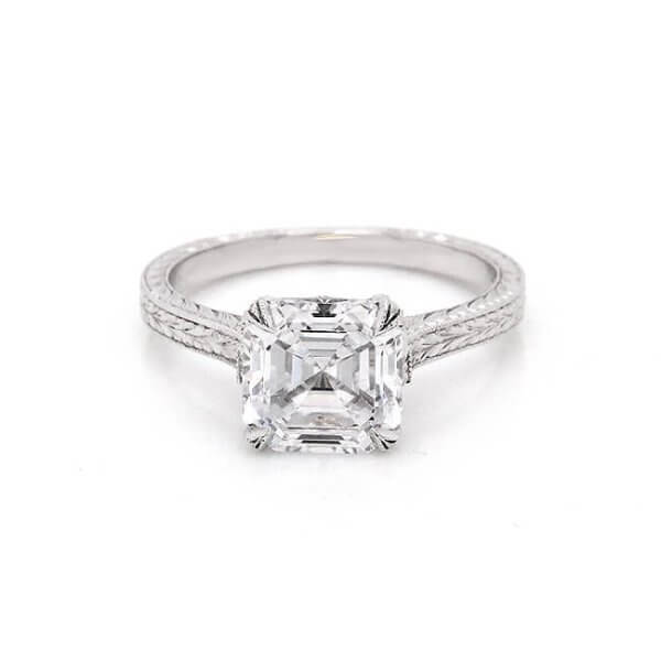 Asscher Vintage Hand Engraved Moissanite Ring