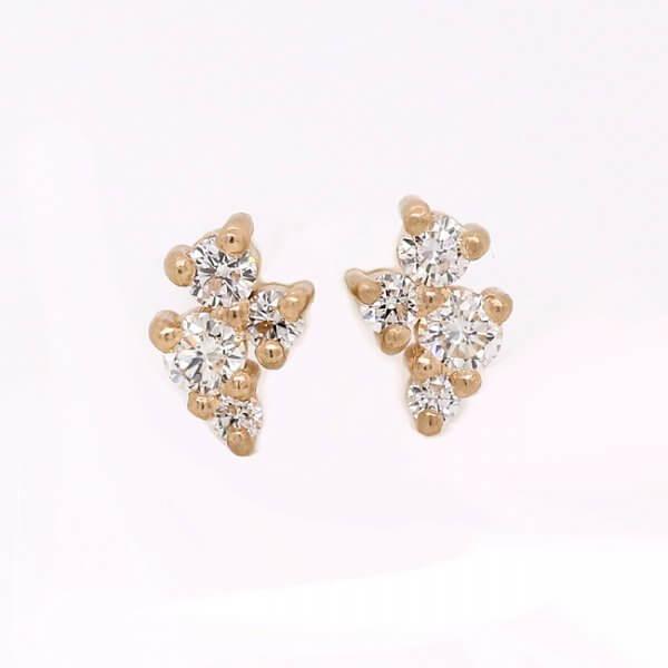 Asymmetrical diamond cluster earrings