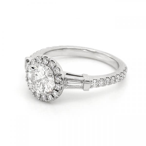 Baguette and round diamonds ring with center Forever One Moissanite