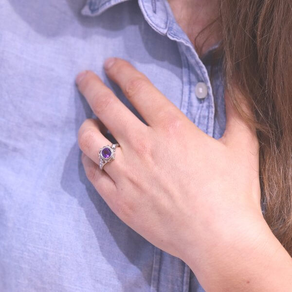 Bezel set amethyst and diamonds engagement ring OroSpot