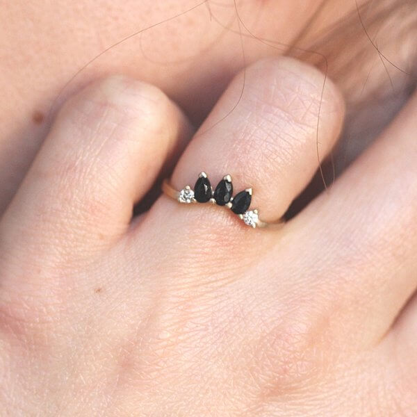Black Sapphire and Diamond Curved Band