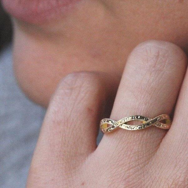 braided vintage engraved wedding ring