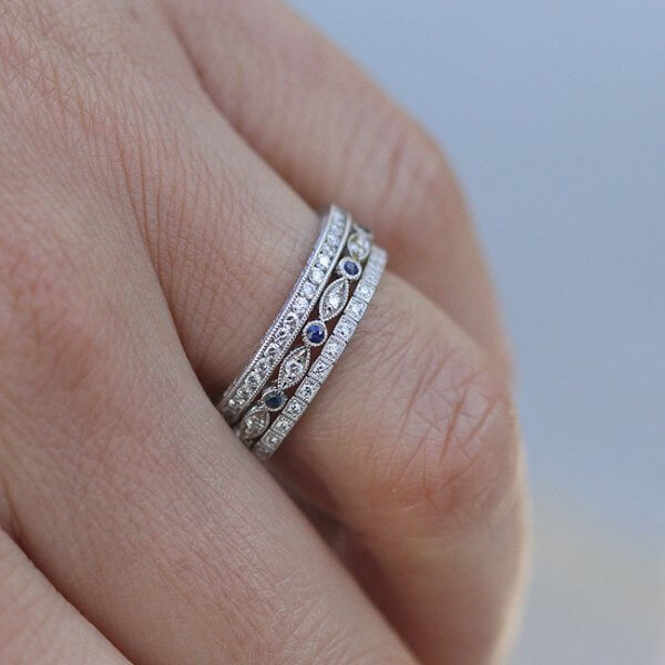 Channel Diamond Eternity Ring with Hand Engraving