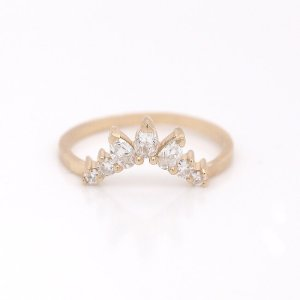 Chevron Moissanite Guard Band