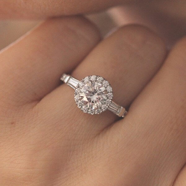 Classic Diamond halo Engagement Ring with center MOissanite