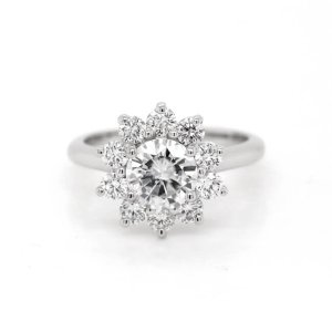 Cluster Flower MOissanite Ring with diamond halo