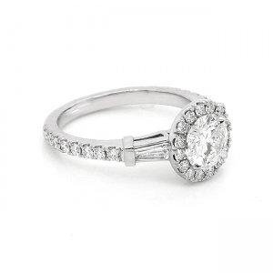 Contemporary Diamond Moissanite Engagement Ring OroSpot