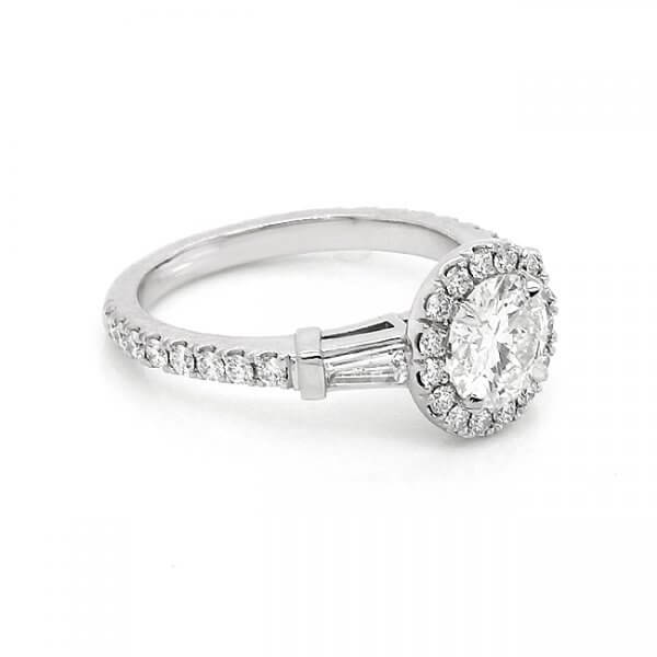 Contemporary Diamond Moissanite Engagement Ring OroSpot