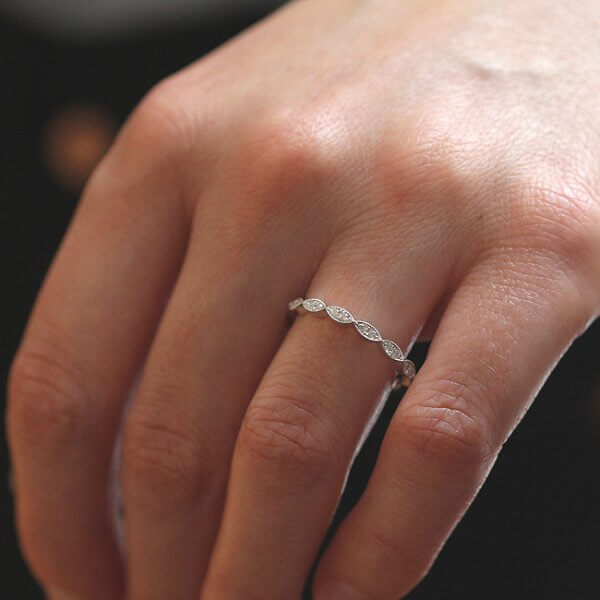 Contemporary diamond wedding ring 2mm