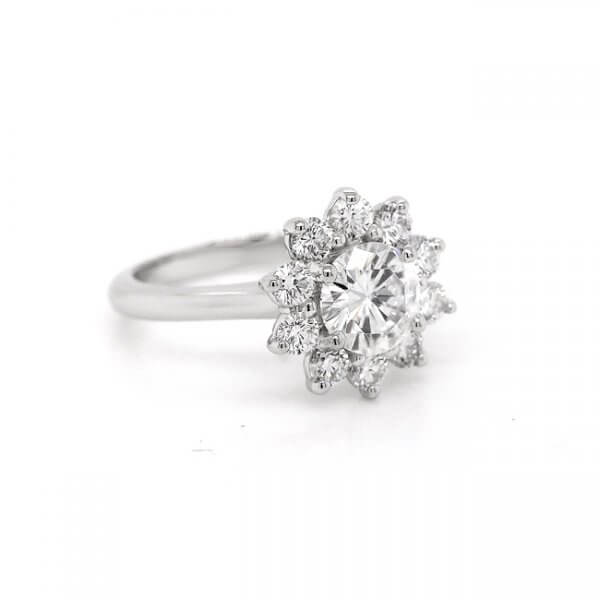 Contemporary halo moissanite engagement ring OroSpot