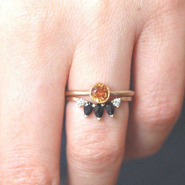 Contour Nesting sapphire diamond ring