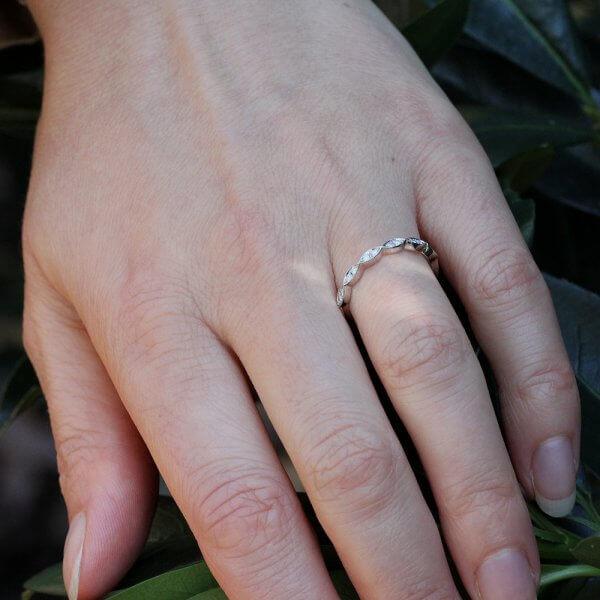 Delicate diamond half way wedding band by OroSpot