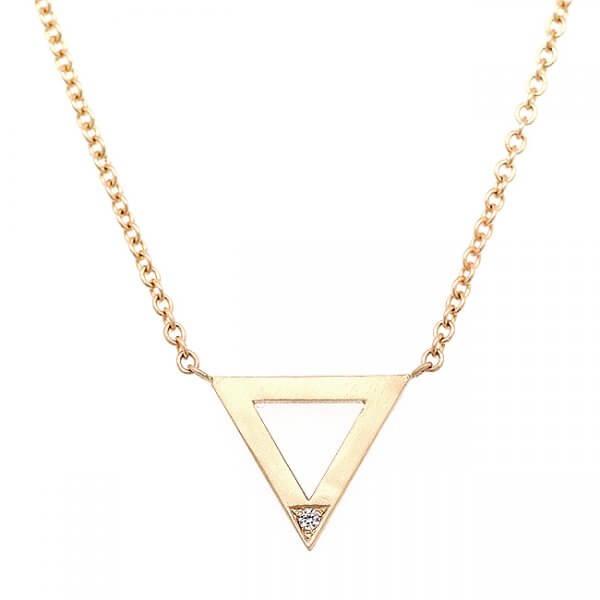 Delicate diamond triangle gold necklace