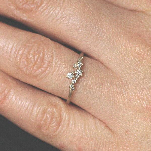 Delicate unique diamond bridal ring OroSpot