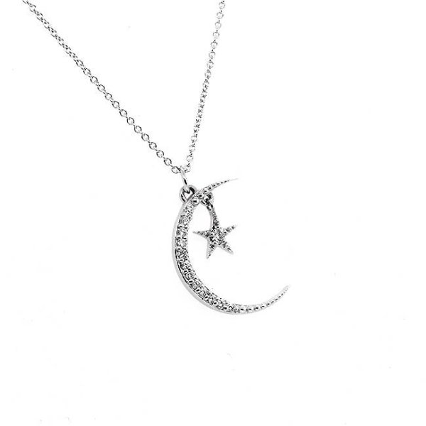 Diamond Crescent Moon and Star Pendant Necklace