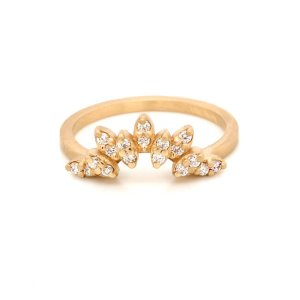 Diamond Curved Guard Band Solid Gold