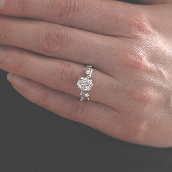 Diamond and Moissanite engagement ring in organic style by OroSpot