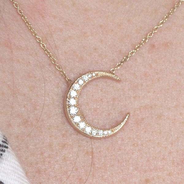 Diamond crescent moon pendant in solid 14k yellow gold OroSpot
