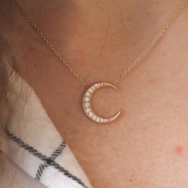Diamond gold moon necklace with milgrain by OroSpot