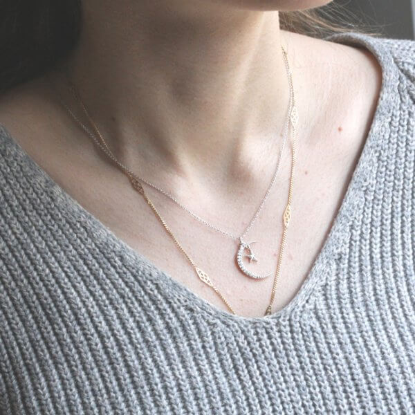 Diamond moon and star necklace in gold by OroSpot