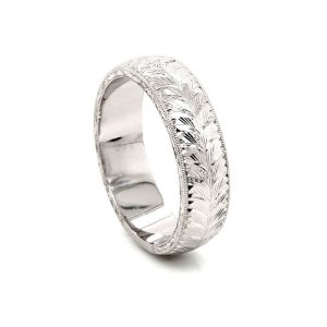 domed vintage engraved men's wedding rin