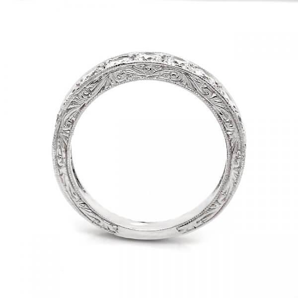 Edwardian bead set diamond wedding ring 4mm wide