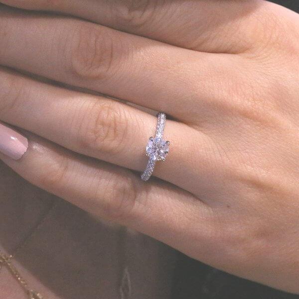 Elegant unique engagement ring with .60CT GVS diamond