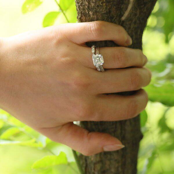 Elegant Moissanite Asscher Vintage Ring
