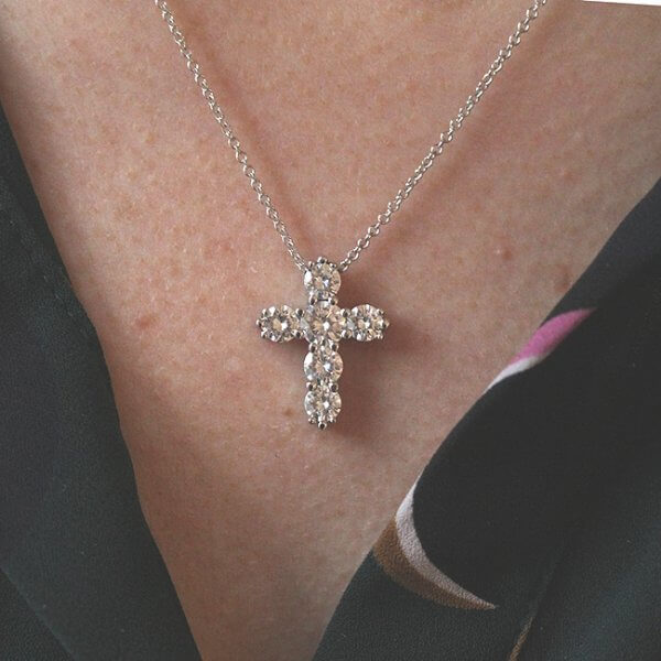 Elegant, Modern Moissanite Cross Pendant Necklace OroSpot