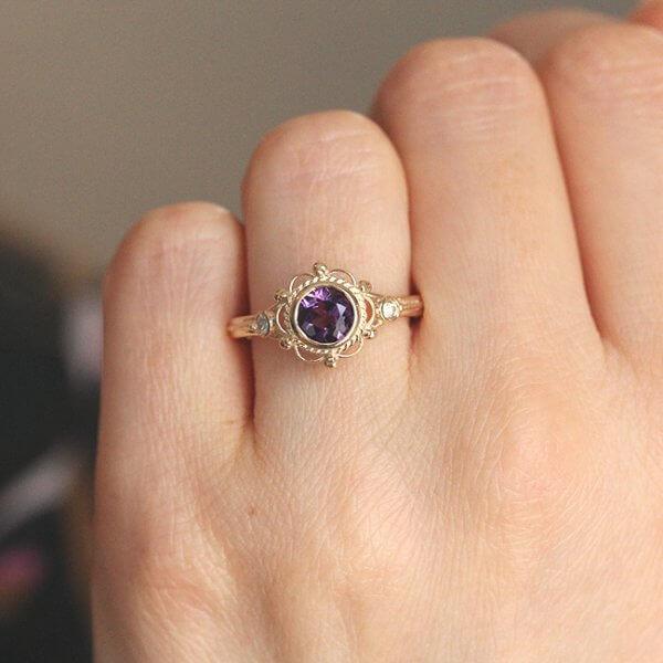 Elegant Victorian diamond and amethyst engagement ring