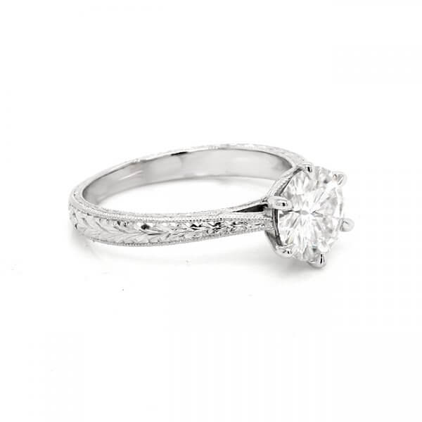 engraved six prongs engagement ring