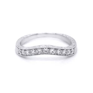 Engraved diamond antique ring guard with milgrain